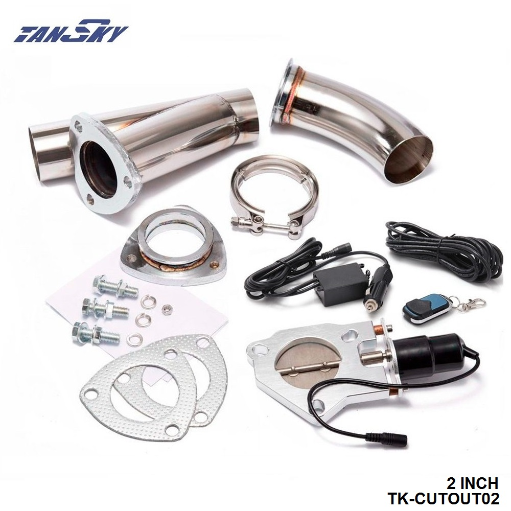 TANSKY - 2 INCH EXHAUST CUTOUT ELECTRIC DUMP Y-PIPE CATBACK CAT BACK TURBO BYPASS STEEL For Chevy Chevrolet Camaro TK-CUTOUT02