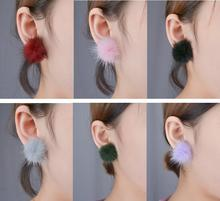 plush pompon earrings for women oorbellen hair ball earrings fashion jewelry boucle d'oreille femme stud earing aretes