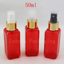 50ml X 50 Red  Perfume Mist Spray Bottle, Makeup setting spray Pump Cosmetic Container Perfumes and Fragrances For Women Empty
