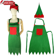 Christmas Decoration Adult Elf Apron Kitchen Aprons Xmas Dinner Party Apron Santa Merry Christmas Dinner Table Party Decoration(China)