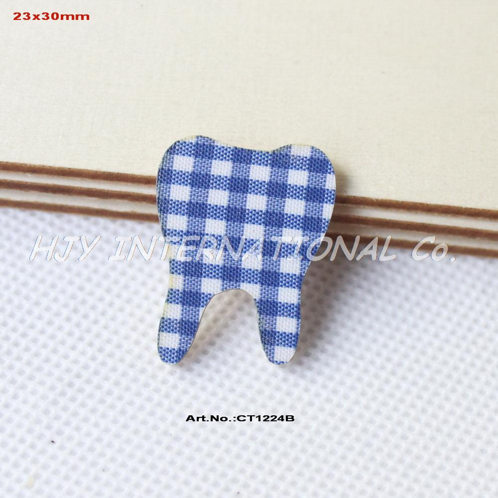 "(100pcs/lot) 30mm Baby Shower Tooth Ornaments-Blue Checked Fabric Topper Wood Back Bulk 1.2""-CT1224B(China)"