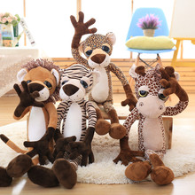 40-80cm Large size Doll Lovely big eyes giraffe lion plush toys tiger leopard doll toy Christmas present Kids gift