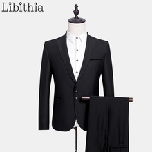 (Jacket + Pant) Two Buttons Wool Suits Men's Formal Suits With Pants Coats Costume Homme Slim Fit Wedding Dress Classical E546