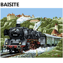BAISITE Framed Landscape DIY Oil Painting By Numbers Picture Of Train Painting&Calligraphy Home Decor Wall Art E094 40x50cm