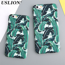 USLION Phone Case For iPhone 7 7 Plus 6 6s Plus 5 5s SE Leaf Summer Cool Plants Banana Leaves Ultra Thin Hard PC Phone Case Bags