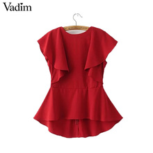 Women elegant ruffles backless shirts back V neck short sleeve red blouses ladies brand casual streetwear tops blusas DT960(China)