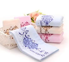 drop 2pcs/set 34*74cm 100% Cotton Face Flower Towel Peony towel Quick Dry Bathroom Sports Gym Towels Facecloth for Home Hotel(China)