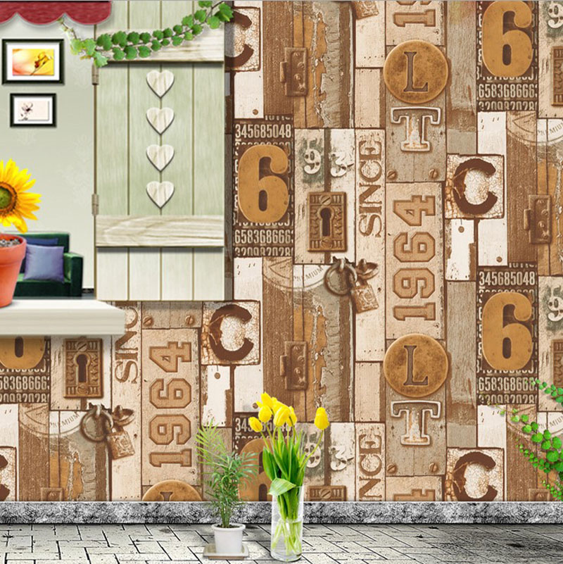 American Vintage Wall Paper Waterproof PVC Wallpapers Retro Wood Wallpaper 3D Personalized Letter Wallpaper Roll for Cafe Shop <br><br>Aliexpress