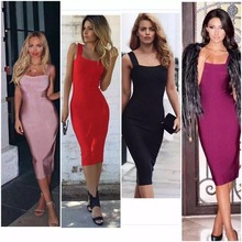 Top Quality Celebrity Sling Red White Knee Length Rayon Bandage Dress Sexy Evening Party Dress