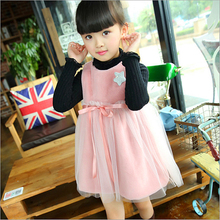 Anlencool 2017 winter new star girls dress Korean female baby gauze dress factory direct Children's high quality winter dress(China)