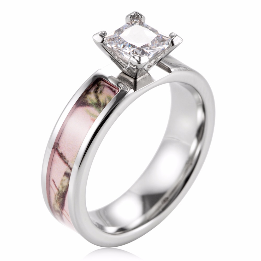 Ladies Camo Engagement ring Pink Realtree camo titanium wedding ring Prong Setting CZ crystal Ring for women(China (Mainland))