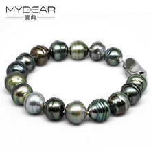 MYDEAR Fine Pearl Jewelry Fashionable Thread Shape 8-10mm Tahitian Pearl Bracelet Silver Bangle,Pearls Beads For Jewelry Making
