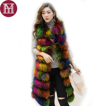 2017 New Brand Women natural raccoon fur vest lady warm real raccoon fur coat winter luxury fashion fur clothing Colorful