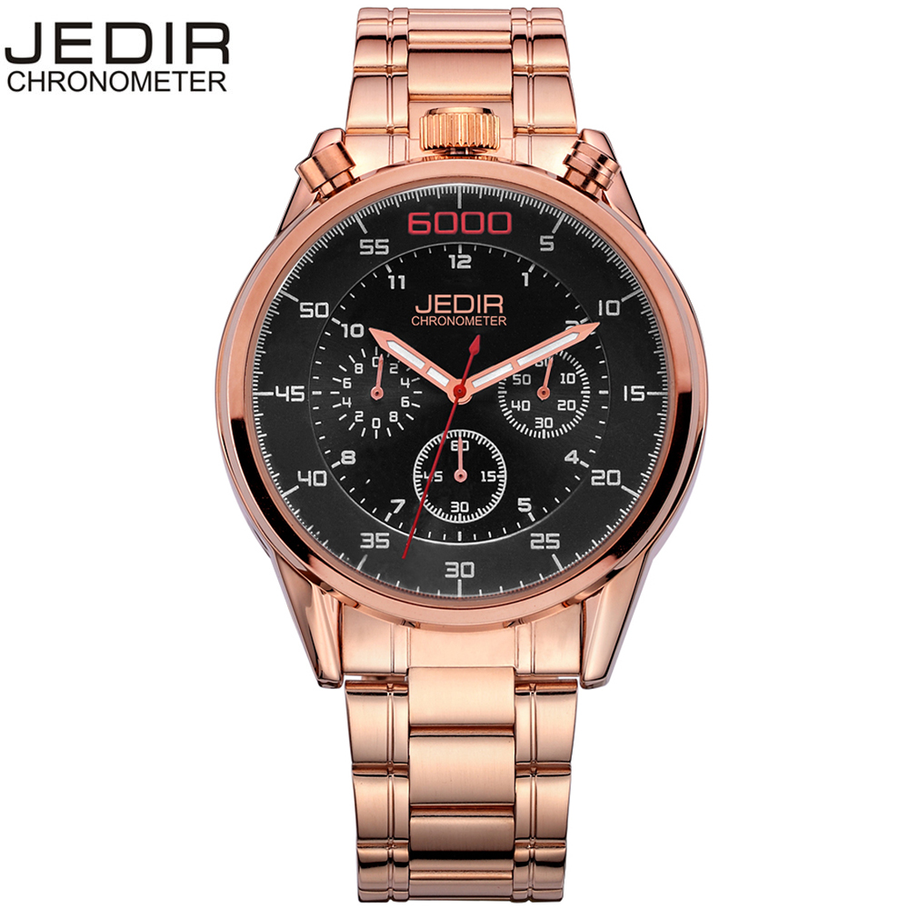 Saudi Arabia luxury Top Brand JEDIR Gold Watch Men Chronograph Mens Watches Military Sport Luminous Wristwatch Relogio Masculino<br>