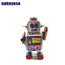 Classic collection Retro Clockwork Wind up Metal Walking Tin Band DJ measure robot recall Mechanical toy kids christmas gift(China)