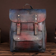 New Trend Cowhide Genuine Leather Backpack Men Women Daypack Casual School Bag Laptop Rucksack Unisex Knapsack For Traveling