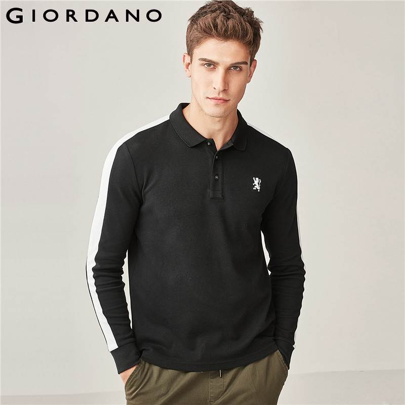 Giordano Men Polo Shirt Men Long Sleeves Slim Embroidery Lion Camisa Polo Masculina Contrast Color Polo Shirts Men Classic Style