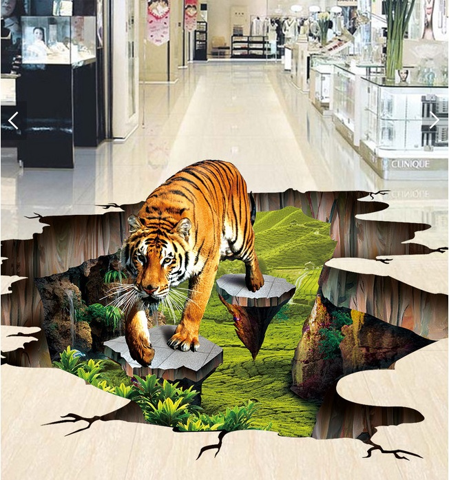 Custom photo 3d flooring mural self - adhesion wall sticker 3 d Tiger outdoors to draw  painting 3d wall room murals wallpaper<br>