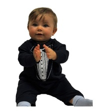 newest free shipping baby tuxedo rompers long romper costume 2014 business jumpsuit toddler outfit baby clothing overall D61