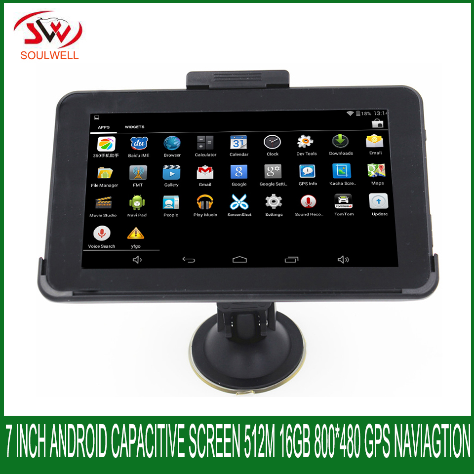 7 inch Capacitive screen Android GPS Navigation 512Mb 8Gb Truck vehicle car Quad-core WIFI maps for USA/spainsh/Europe/navitel(China)