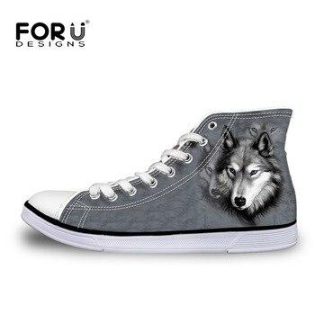 FORUDESIGNS Moda Zapatos Casuales Para Hombre 3D Animales Lobo Altos Zapatos Superiores, Perro Husky Impreso Pisos zapatos Hombre Zapatos de Lona Calzado de hombres