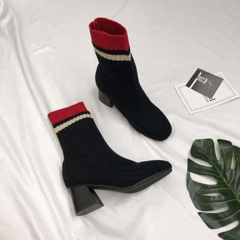 2017 Embroidery Women High Heels Ankle Boots Pointed Toe Winter High Street Black Red Ladies Chukka Sockboot Martin Crotch Shoes<br>