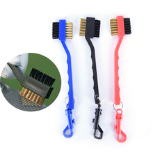 1pc Golf Club Brush Double Sided Sided Brass Wires Nylon Golf Brush Clip Groove Ball Cleaner Cleaning Kit Tool Accessories(China)