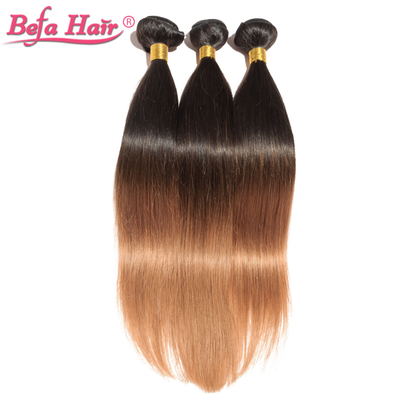Befa 2pcs/lot european straight hair ombre hair weaves Dyed remy hair free shipping free shedding 1b-30#<br><br>Aliexpress
