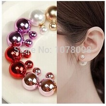 Hot selling wholesale! Fashion sales in 2017 on both sides cute color glossy large simulated pearl (16mm) earrings for women(China)