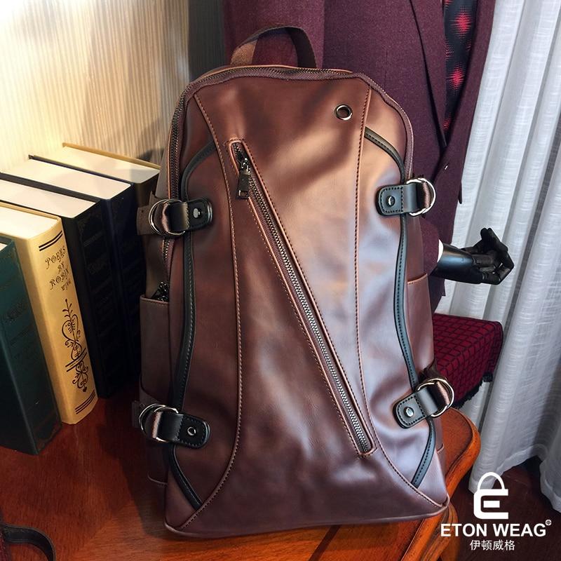 ETONWEAG Brands Cow Leather Backpack Brown Zipper Vintage School Bags For Men Fashion Laptop Bag Punk Style Pop Travel Backpacks<br>