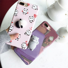 Squishy Mobile Phone Cases For iPhone 7 Case 7 8 Plus Soft Kitty Squeeze Lovely Pressure Reduce Case For iPhone 6 Case 6S Plus(China)