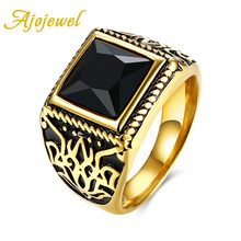 2016 Ajojewel Brand Jewelry Vintage Accessories Red / Black Square Crystal Carving Stainless Steel Rings For Men