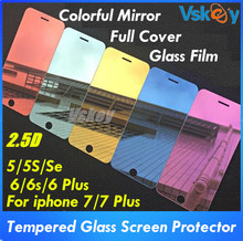 Vskey 10pcs Colorful Mirror Tempered Glass For iPhone 8 6 6s 7 plus 5S Screen Protector 2.5D Full Cover Protective Film(China)