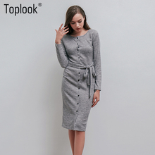 Toplook Knitted Belt Sweater Dress Womens Winter Autumn Grey Basic Button Split Sheath Dresses Fitness Office Lady Dress(China)