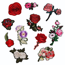 Embroidery Patches For Clothing 1Pcs Red Flowers Iron On Patches Punk Motif Applique Sewing DIY Accessory Clothes Stickers