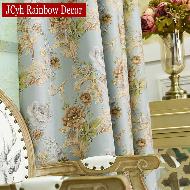 Luxury Blackout Curtains For Living room Bedroom Window French Treatments Drapery Girl's Floral Curtains Tulle Kitchen Curtains