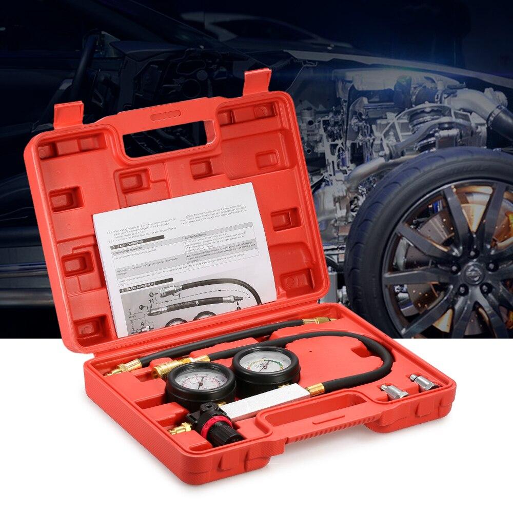 Auto Cylinder Leak Tester Compression Leakage Detector Kit Set Petrol Engine Gauge Tool Kit Double Gauge System with Case<br>