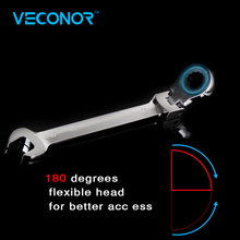 Veconor 13mm flexible swievel head ratcheting wrench and open end combination spanner a key wrench fully polished surface 72T Cr