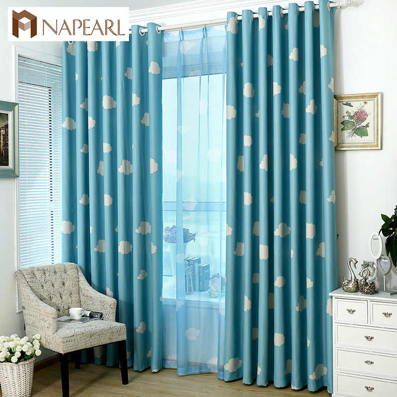 NAPEARL 1 Piece Blackout curtains cartoon kid bedroom child window treatment tulle curtains panel modern short blue sky cloud