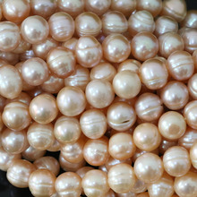 Charms natural orange freshwater cultured pearl round beads 9-10mm wholesale price beauty women fine jewelry making 15inch B1377(China)