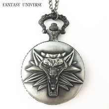 FANTASY UNIVERSE Freeshipping 20pc a lot The Witcher Wolf pocket watch Necklace HJYG02(China)