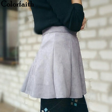 New 2017 Autumn Winter Women Mini Pleated Skirt Suede Solid Multi Colors High Waist School Girls Femininas Skater Skirt SK3681