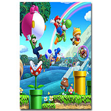 J1529- New Super Mario Bros. U Game Pop 14x21 24x36 Inches Silk Art Poster Top Fabric Print Home Wall Decor