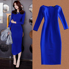 Buy Spring Autumn women dress long sleeve elegant party long dresses plus size casual sexy blue black office dress vestidos robe for $21.60 in AliExpress store