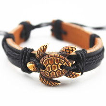Fashion Jewelry Tribal Imitation Bone Carved Cute Turtles Leather Bracelets Surfer Bangle Gift MB154