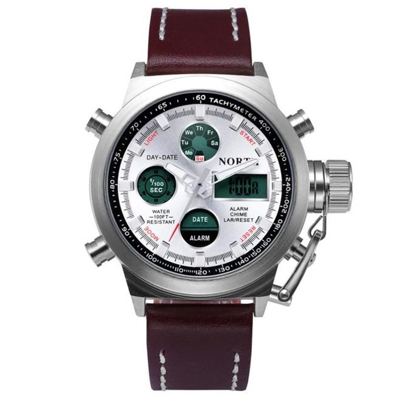 X7 high quality man  North Double Movement Alarm Clock Quartz Wrist Watch Leather Sports Men Watch free shipping wholesale<br><br>Aliexpress