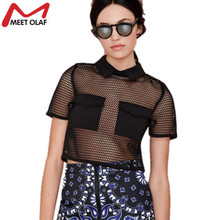 Women Sexy Hollow out Black Grid Mesh Tshirts Turn down collar T shirt Summer Fashion Tops Beach Wear Pullover Tee 3A365