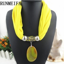 [RUNMEIFA] High Quality natural stone Pendants scarf& necklaces Jewelry pendant scarf 10 colors Free shipping