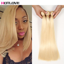 613 Blonde Virgin Hair 8A Straight Brazilian Hair Honey Blonde Brazilian Hair Weave 3 Bundles Platinum Blonde Remy Human Hair