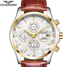 Buy GUANQIN Fashion Style Wrist Watch Leather Band Quartz Watch Men Luxury 2018 Date Chronograph Male Clock Men's Wristwatches Luxo for $23.99 in AliExpress store
